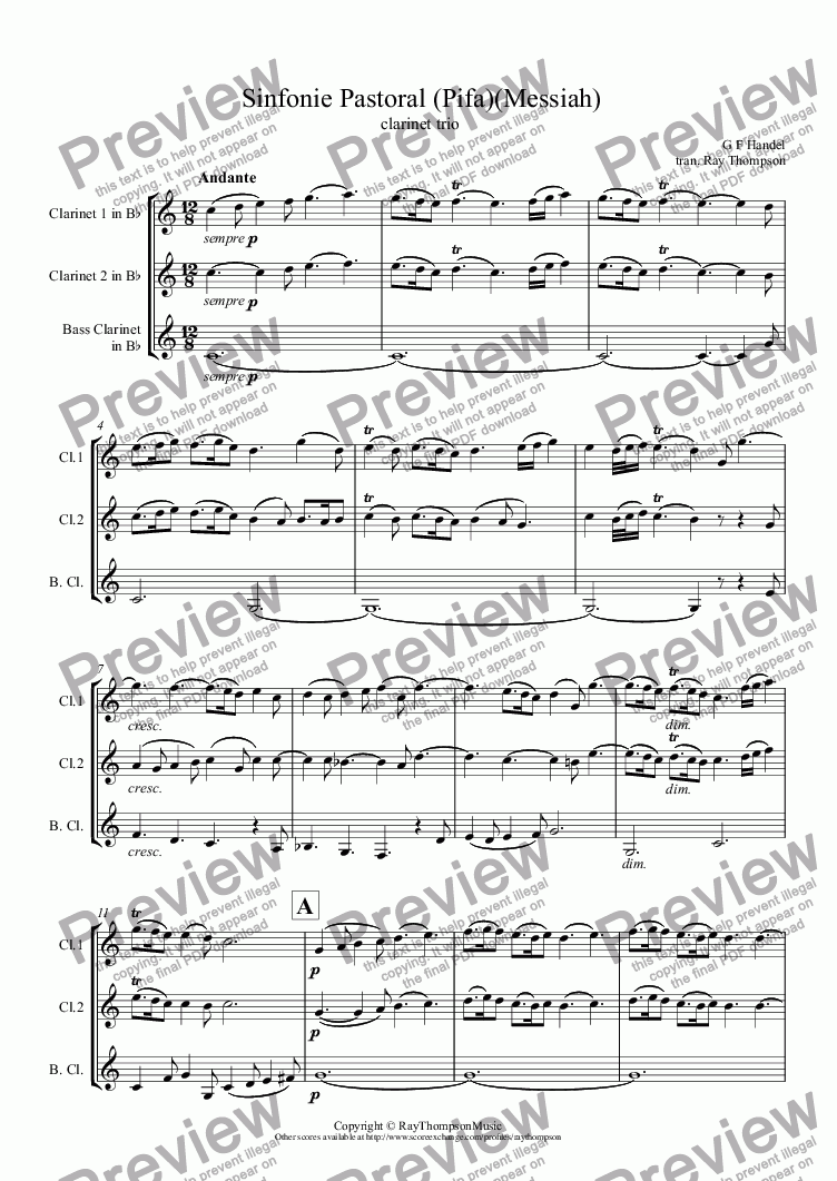 page one of Handel: Sinfonie Pastoral (Pastoral Symphony) (Pifa)(Messiah) arranged clarinet trioASALTTEXT