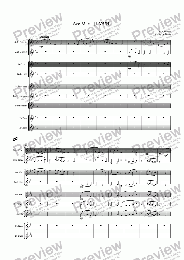 page one of Ave Maria [Mozart]