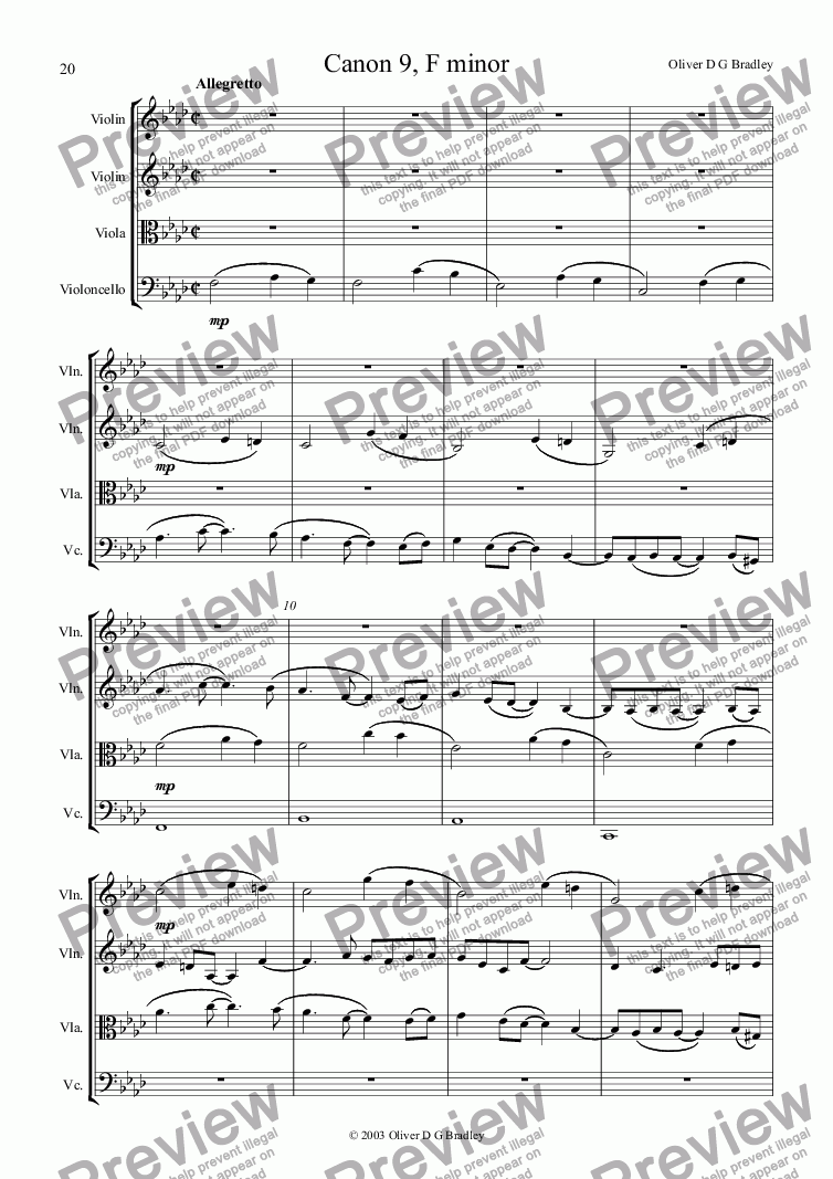 page one of Canon 9, F minor