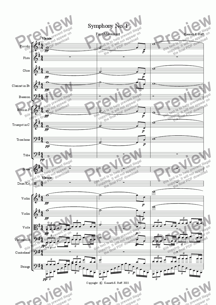 page one of Symphony No. 1 First Movement