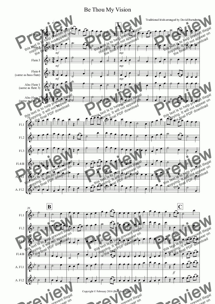 page one of Be Thou My Vision for Flute Quartet