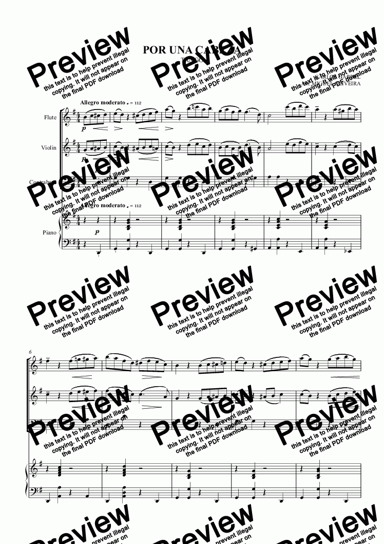 page one of POR UNA CABEZA - Tango for flute, violin, double bass and piano