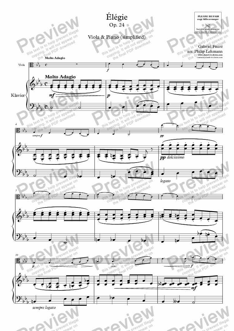 page one of Fauré, G. - Elegie, Op. 24 - for Viola (orig.) & Piano (simplified)