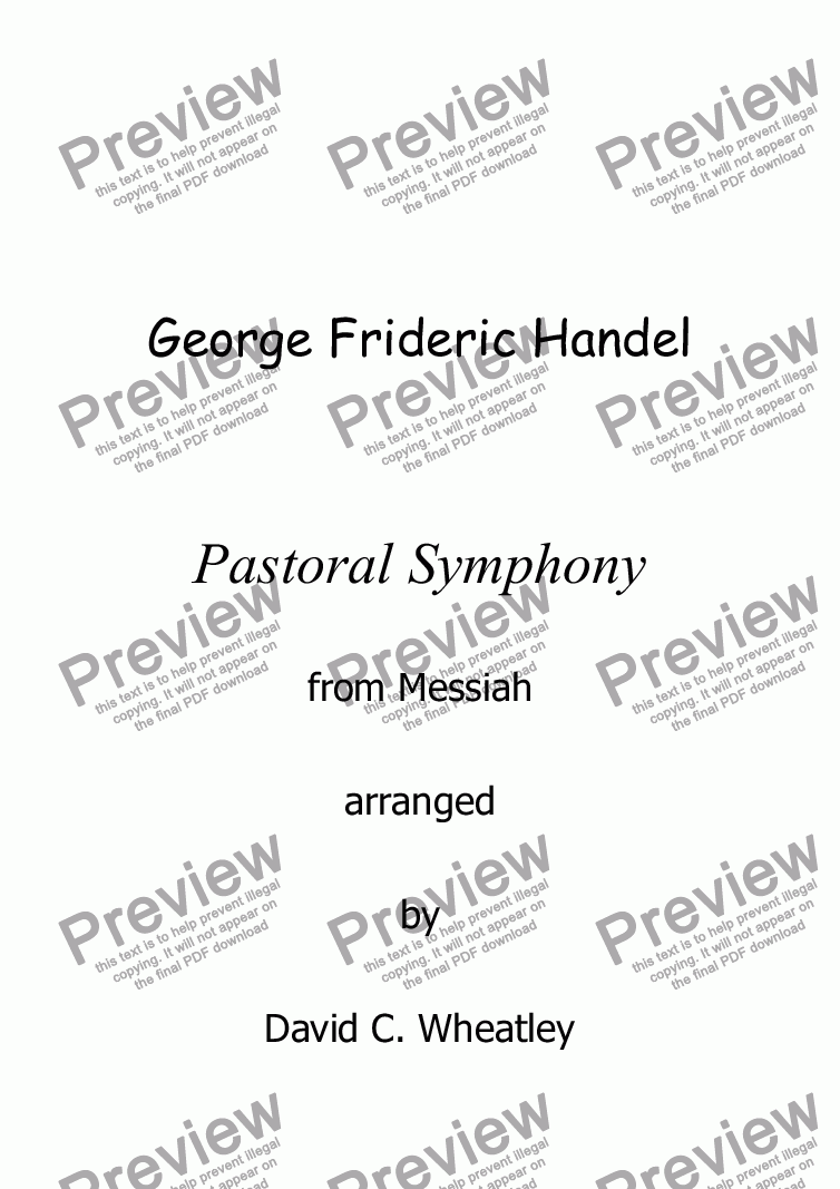 page one of Handel - Pastoral Symphony (Messiah) for organ soloASALTTEXT