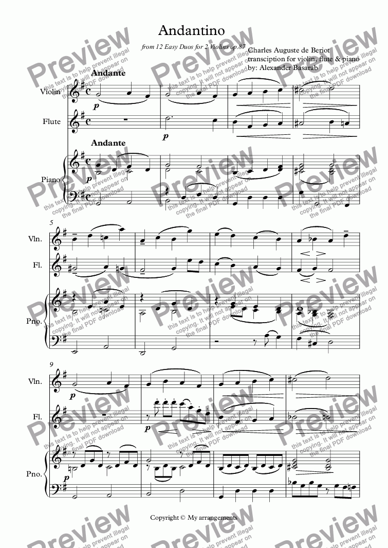 page one of Charles Auguste de Beriot - Andantino for violin, flute & pianoASALTTEXT