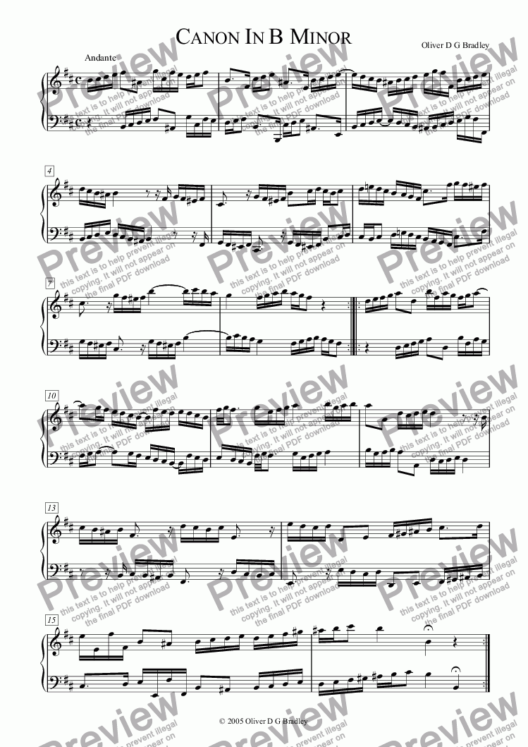 page one of Canon in B minor