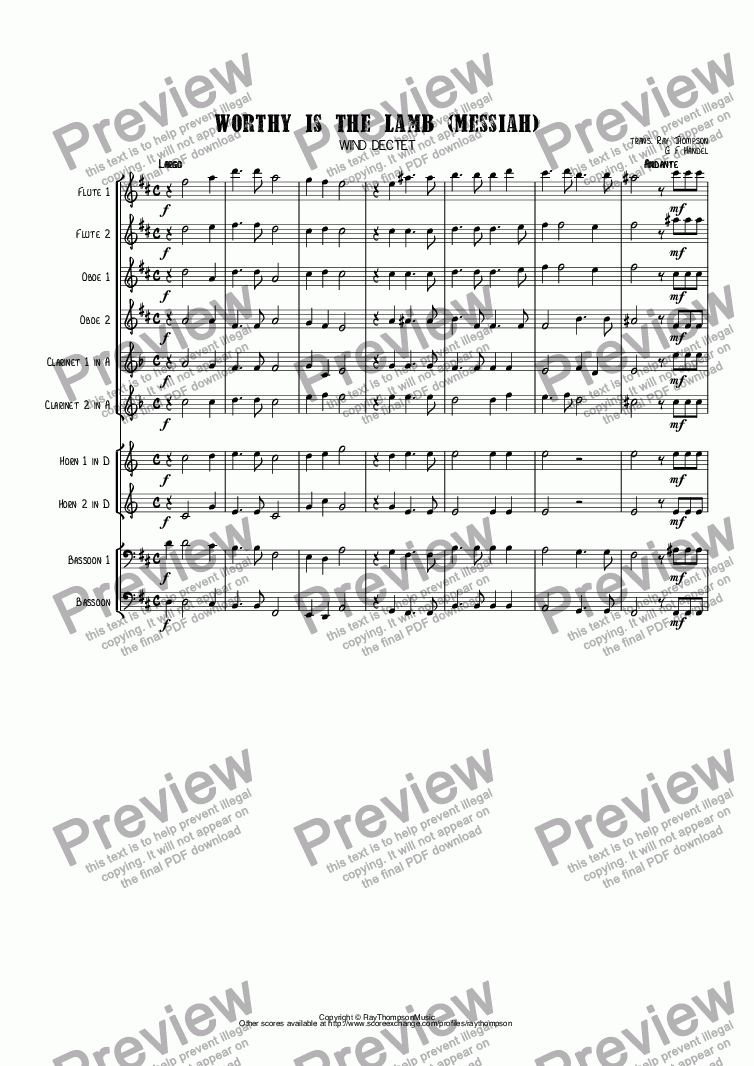 page one of Handel: Worthy is the Lamb (Messiah)(Der Messias) arr. wind dectet (10 players)( Double wind quintet of 2 Fl, 2 Ob, 2 Cl, 2 Hn, 2 Bsn)