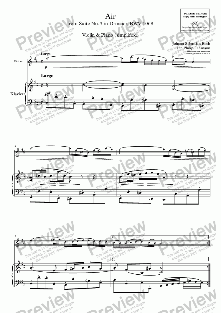 page one of Bach, J.S. - Air (from Suite No. 3 in D), BWV 1068 - for Violin (orig.) & Piano (simplified)ASALTTEXT