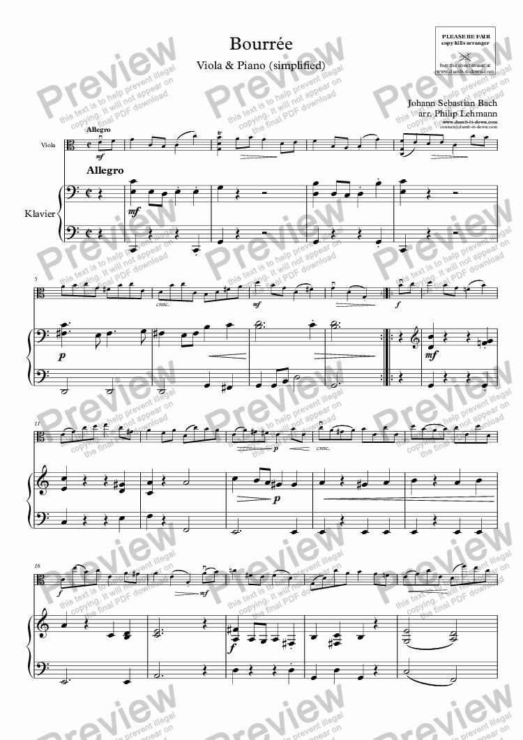 page one of Bach, J.S. - Bourrée - for Viola (orig.) & Piano (simplified)ASALTTEXT