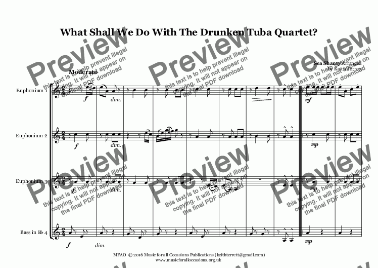 page one of What Shall We Do With The Drunken Tuba Quartet?  (Treble Clef parts)ASALTTEXT