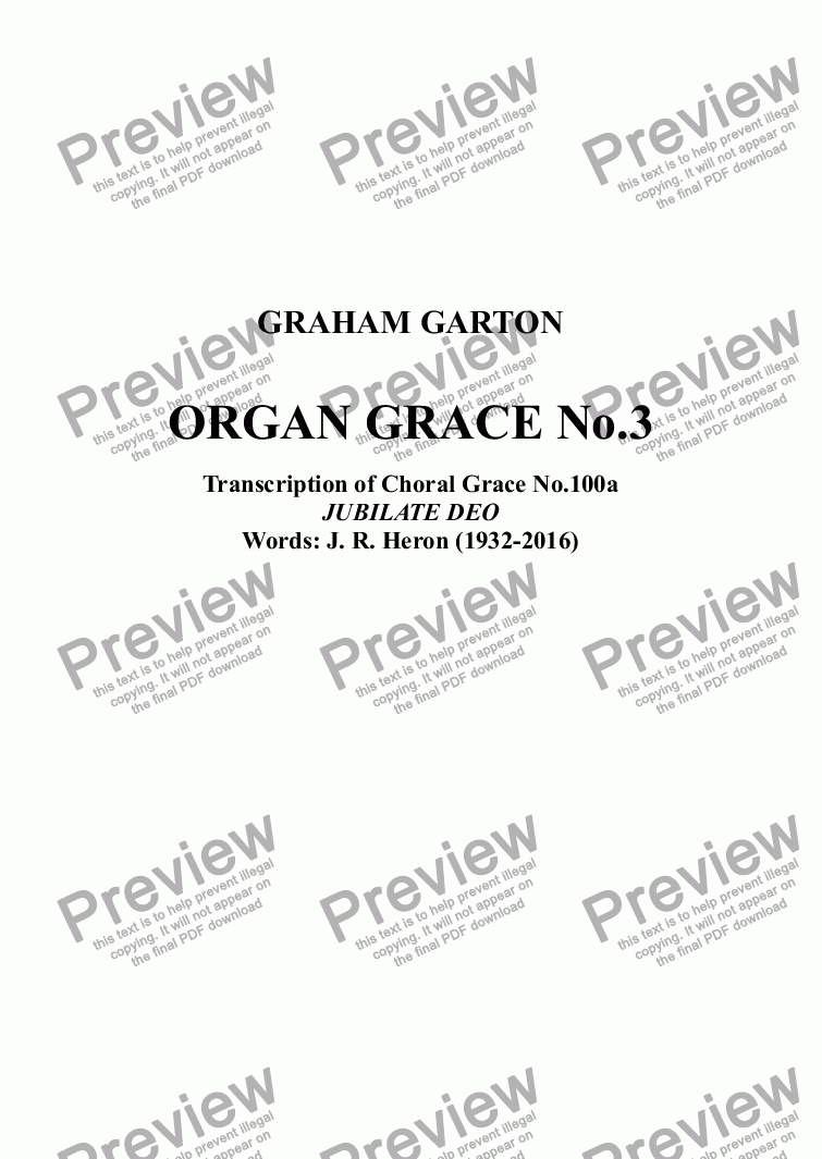 page one of ORGAN GRACE No.3 Transcription of Choral grace No.100a Jubilate Deo Words. J.R.Heron (1932-2016)