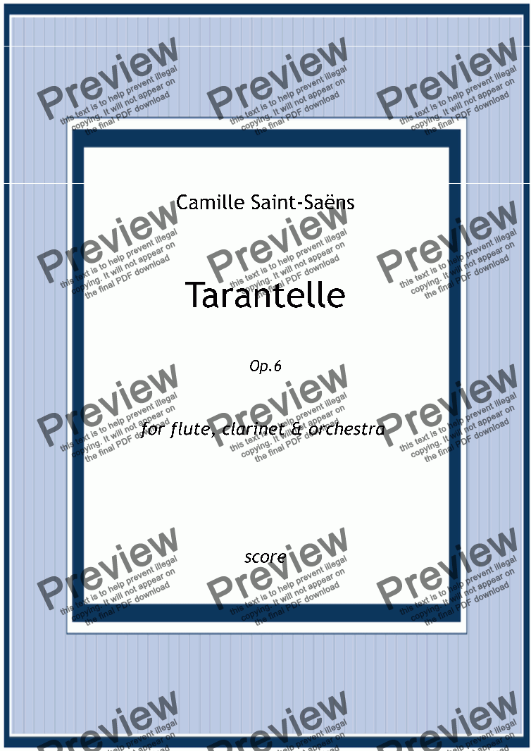 page one of Saent-Sains - TARANTELLE for Flute, Clarinet and Orchestra Op.6 - full score