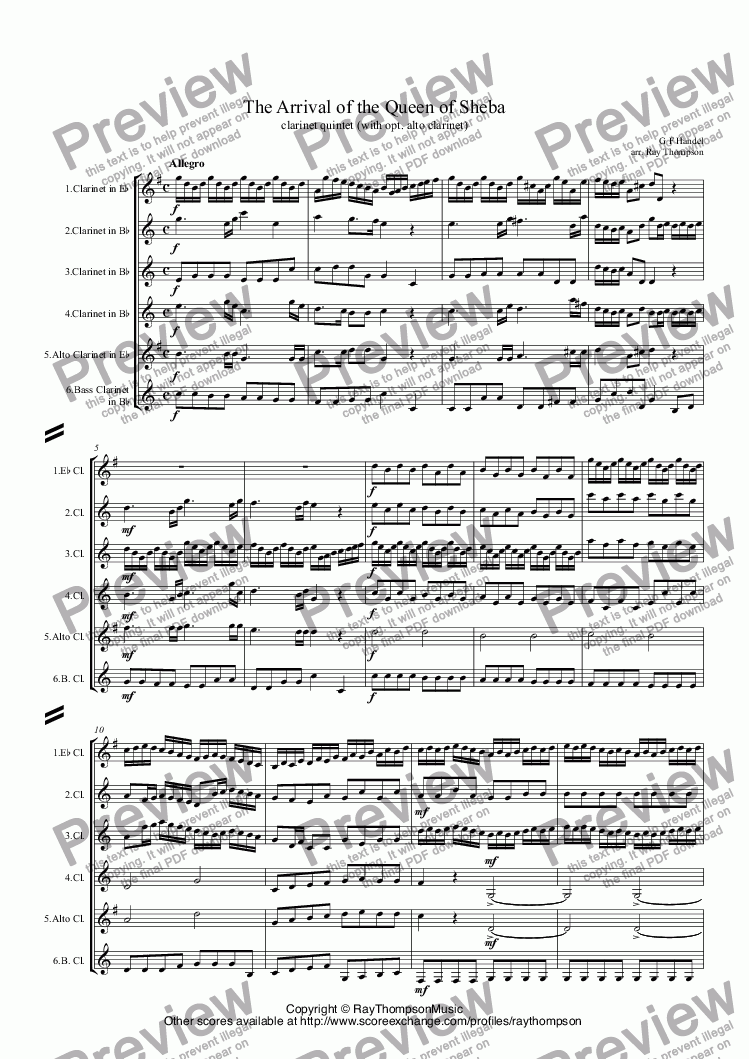 page one of Handel: Solomon HWV67: Sinfonia: The Arrival of the Queen of Sheba arr. clarinet quintet (opt. alto clt.)