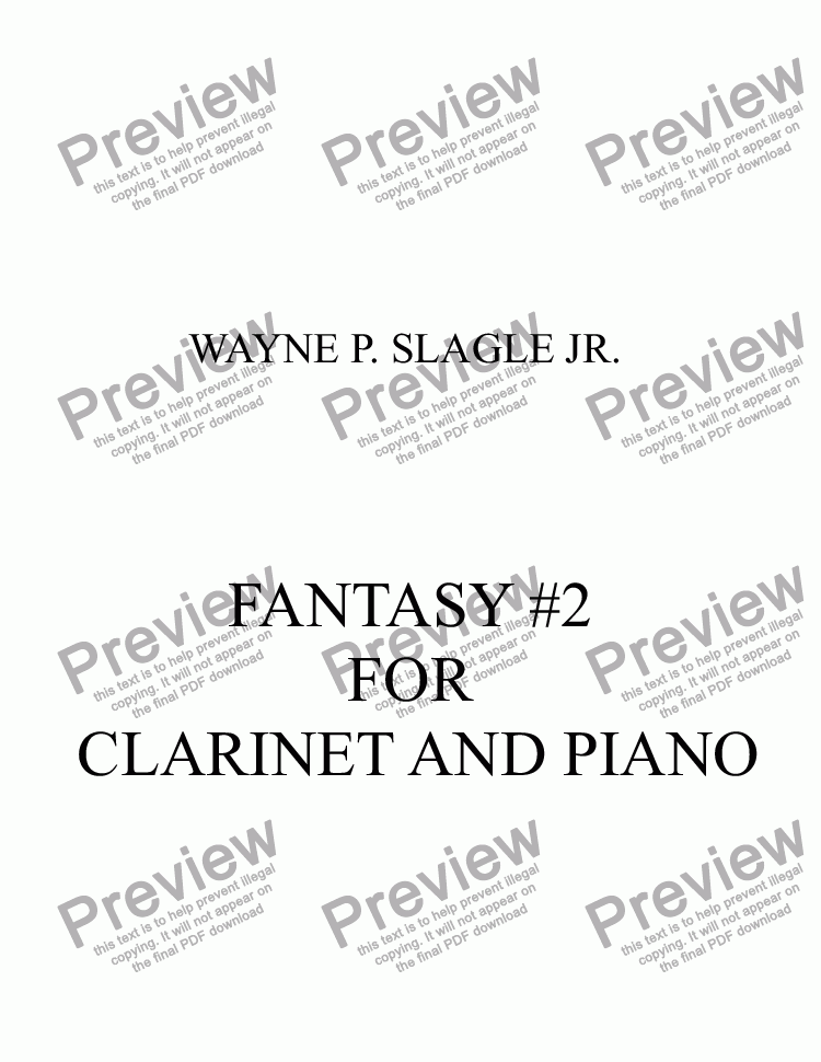 page one of FANTASY #2 FOR  CLARINET AND PIANO