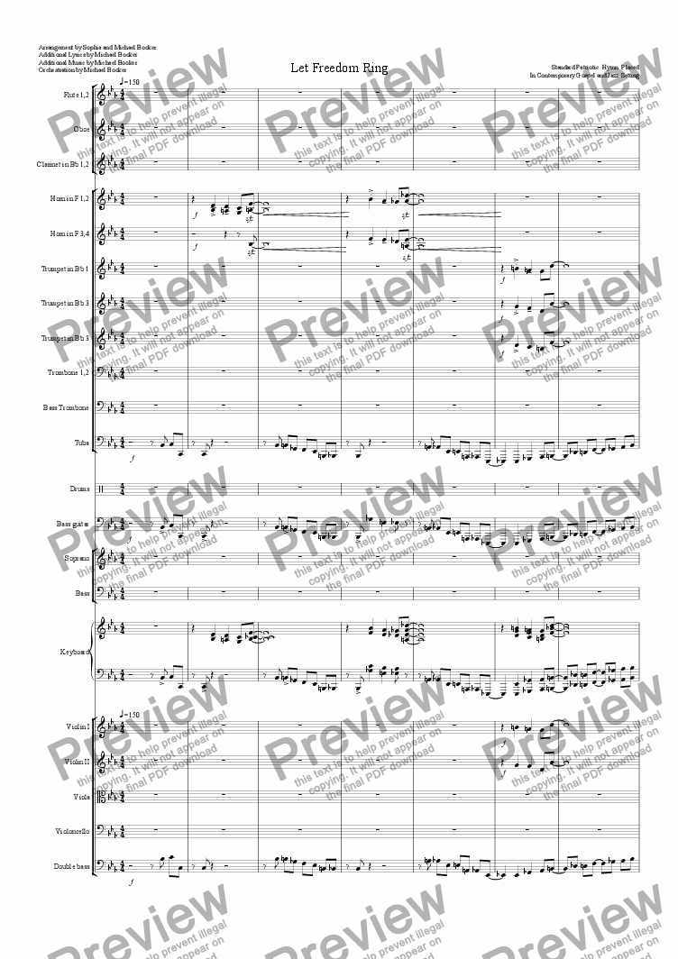 page one of Let Freedom Ring(The Complete Orchestration)
