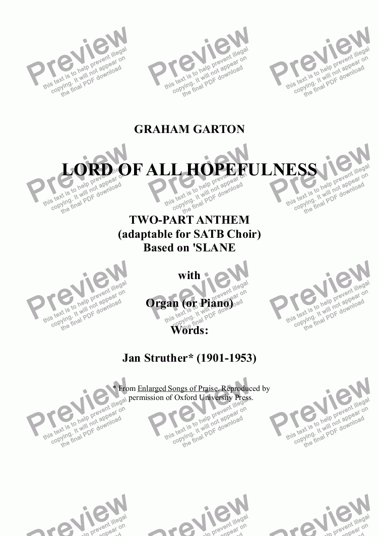 page one of ANTHEM - 'LORD OF ALL LORD OF ALL HOPEFULNESS' Two-part Anthem based on 'SLANE' with Organ or Piano