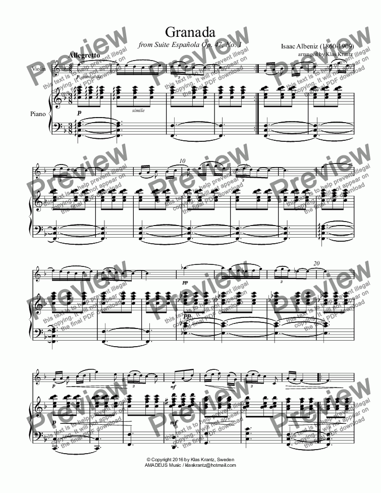 page one of Granada Op. 47 for violin and piano