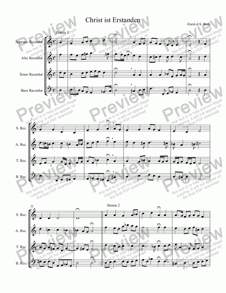 page one of Christ ist Erstanden (for Recorders SATB)