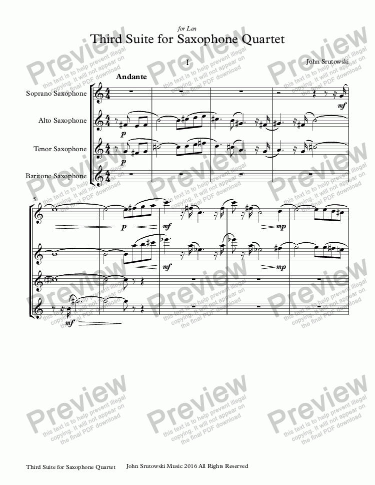 page one of Third Suite for Saxophone QuartetASALTTEXT