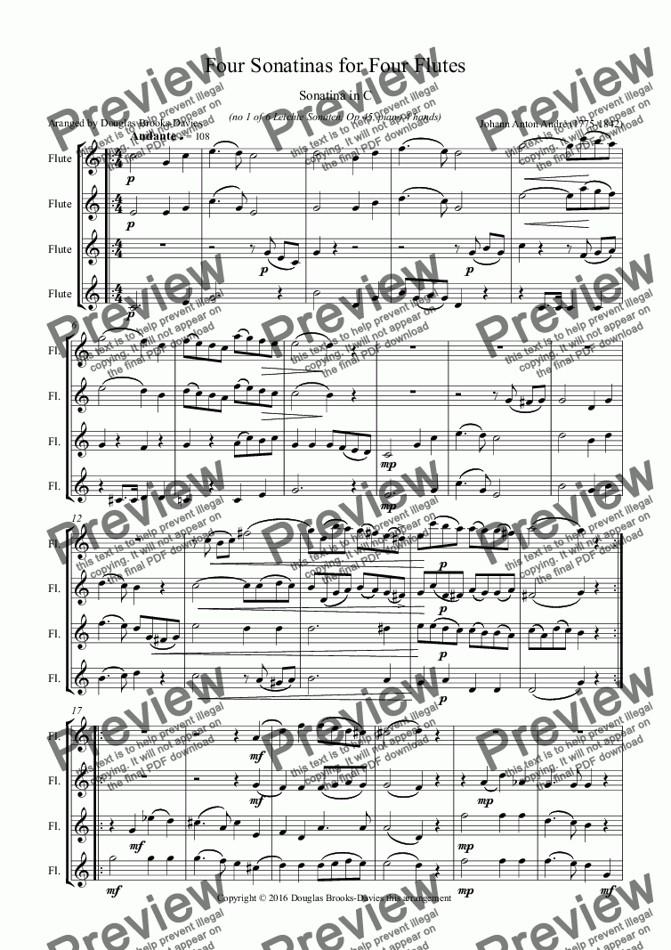 page one of André, Johann Anton: Four Sonatinas for Four Flutes (four flutes in C; originally for piano)