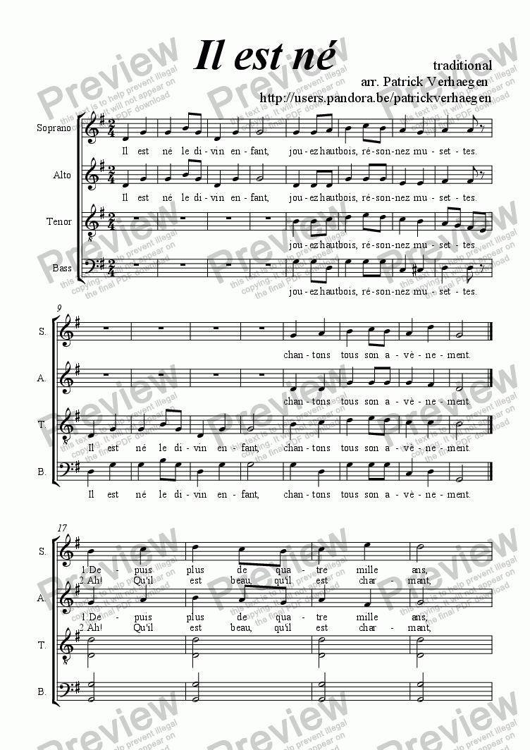 page one of Il est n� (for choir SATB)ASALTTEXT