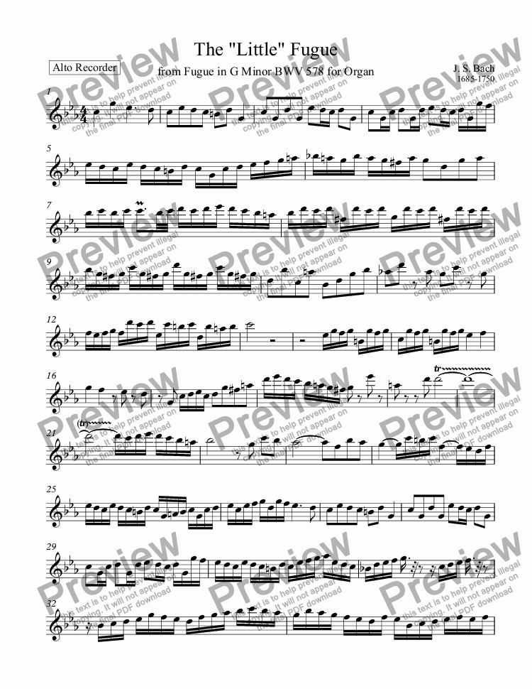 "page one of The ""Little"" Fugue BWV 578 by J.S. Bach"