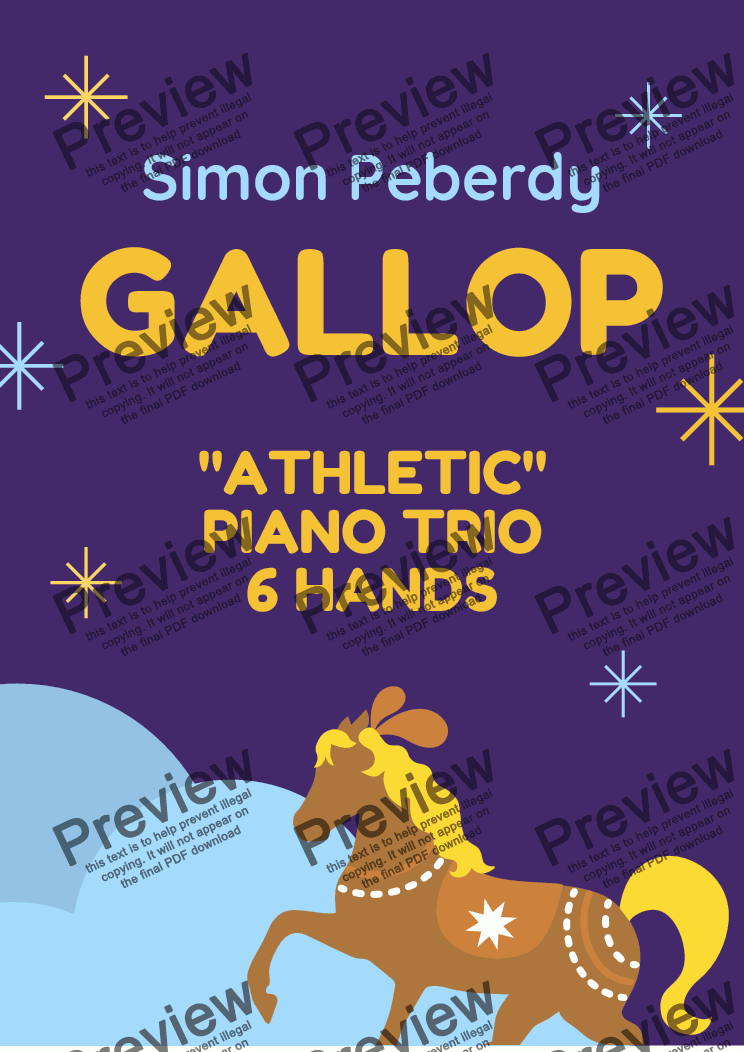 page one of Gallop, Athletic Piano Trio for 6 hands at one piano