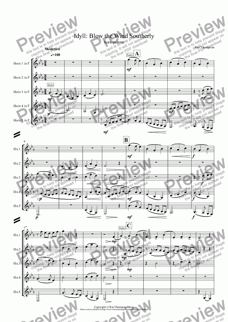 page one of Idyll: Blow the Wind Southerly: horn quintet