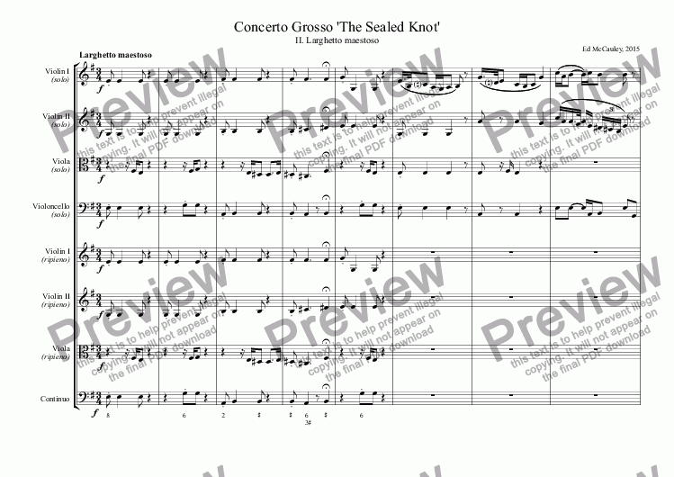 page one of Concerto Grosso 'The Sealed Knot', II. Larghetto maestoso