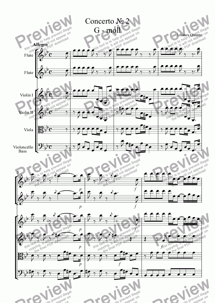 page one of Concerto № 2 G - moll