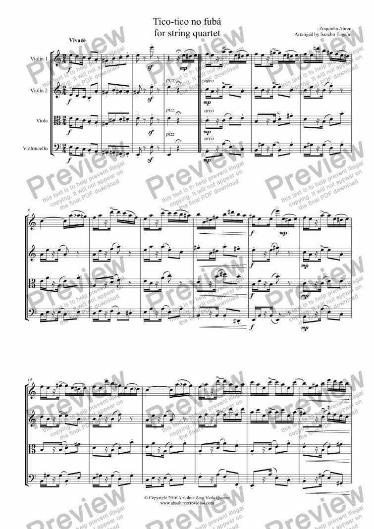 Abreu - Tico-tico no fubá - for string quartet for String quartet by Abreu  - Sheet Music PDF file to download