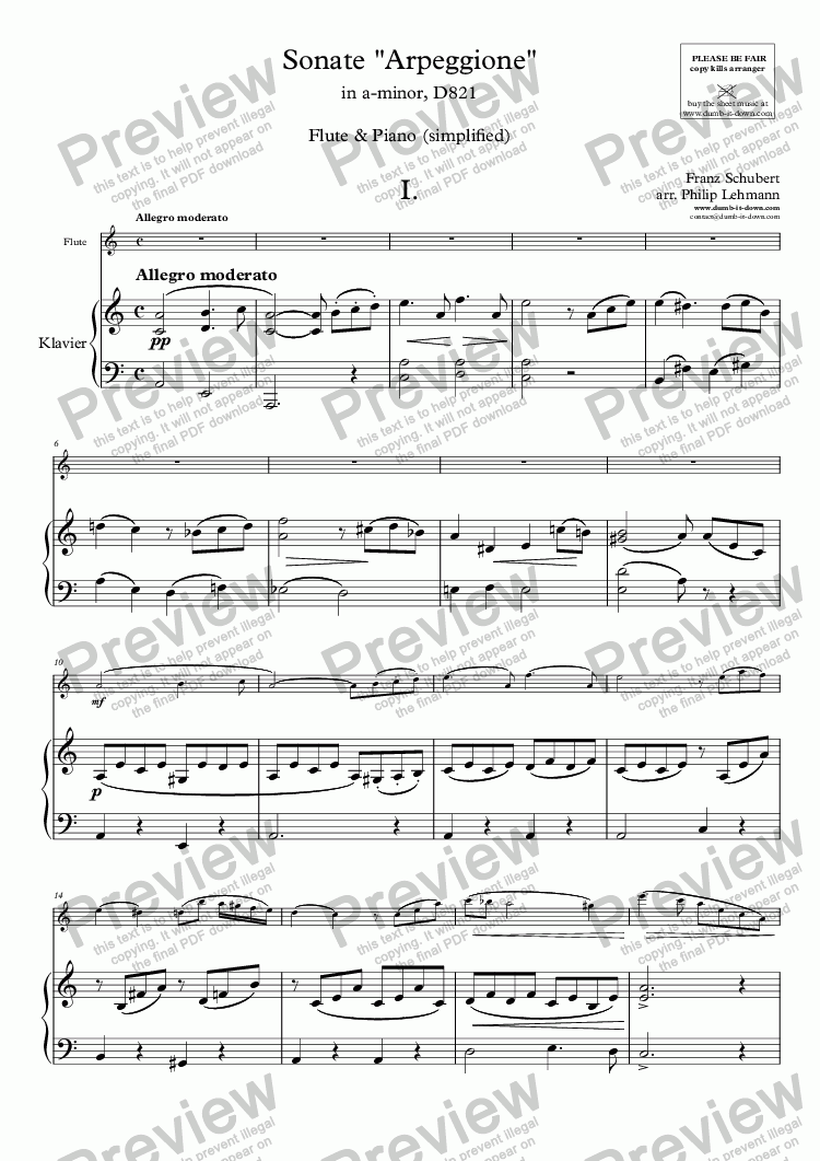 "page one of Schubert, F. - Sonate ""Arpeggione"", in a-minor, D821 - for Flute (orig.) & Piano (simplified)"