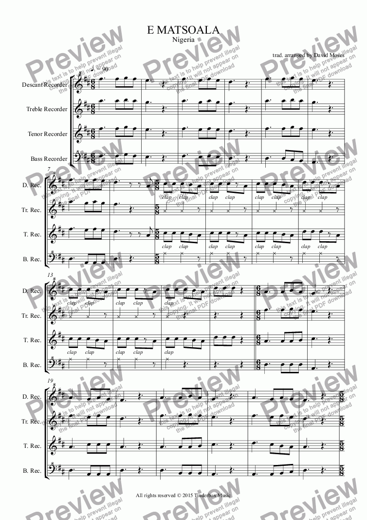 page one of AFRICAN SONG SET