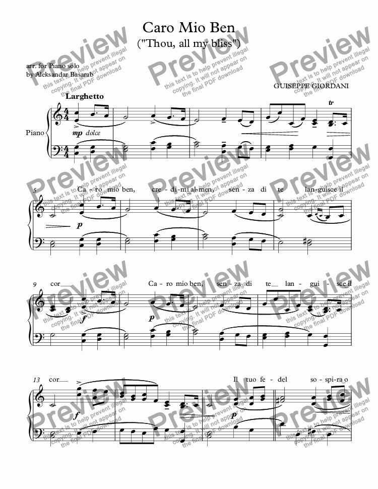 "page one of Giordani - Caro Mio Ben (""Thou, all my bliss"") arr. for Piano with lirics"