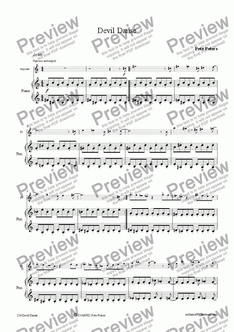 page one of Devil Danse [Flute or Recorder]..