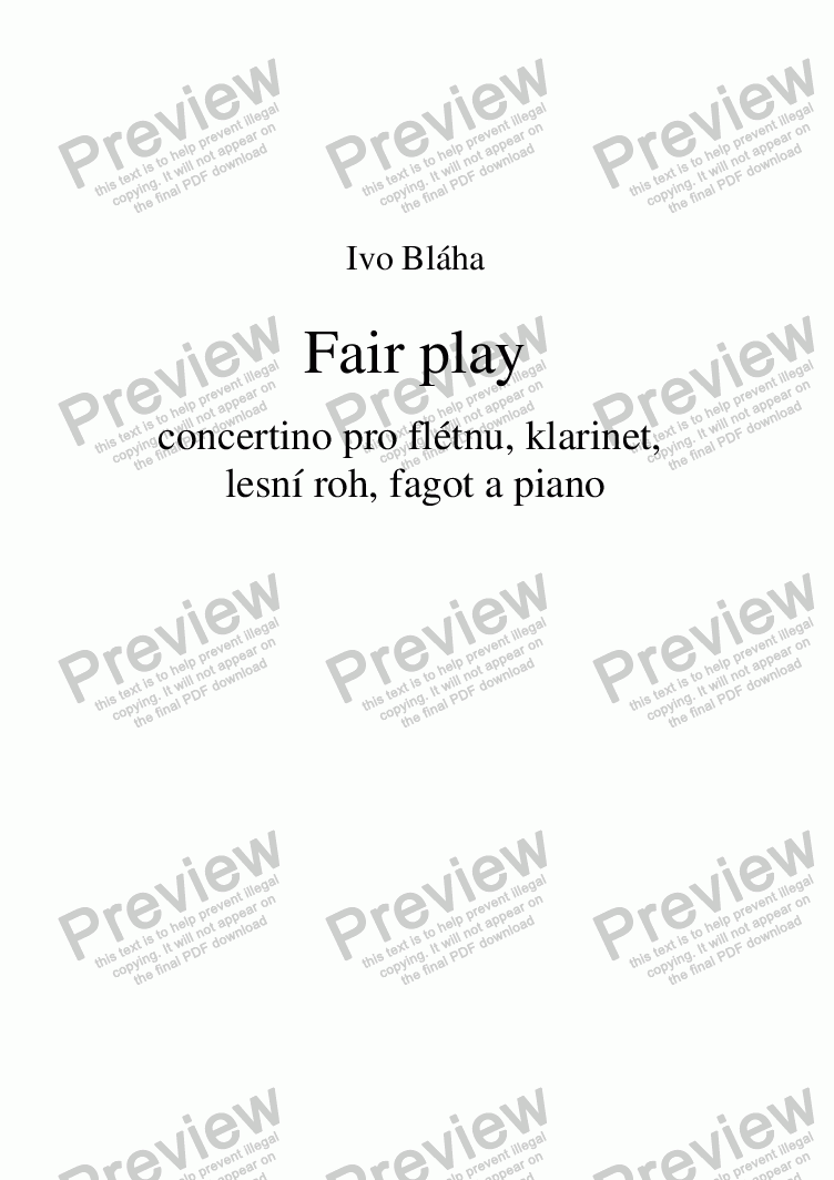 page one of FAIR PLAY-concertino for flute, clarinet, French horn, bassoon and piano