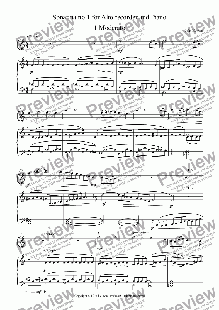 page one of Sonatina no 1 for Alto recorder and PianoASALTTEXT