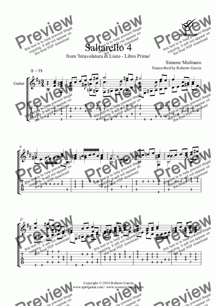 page one of Saltarello 4 for solo guitar