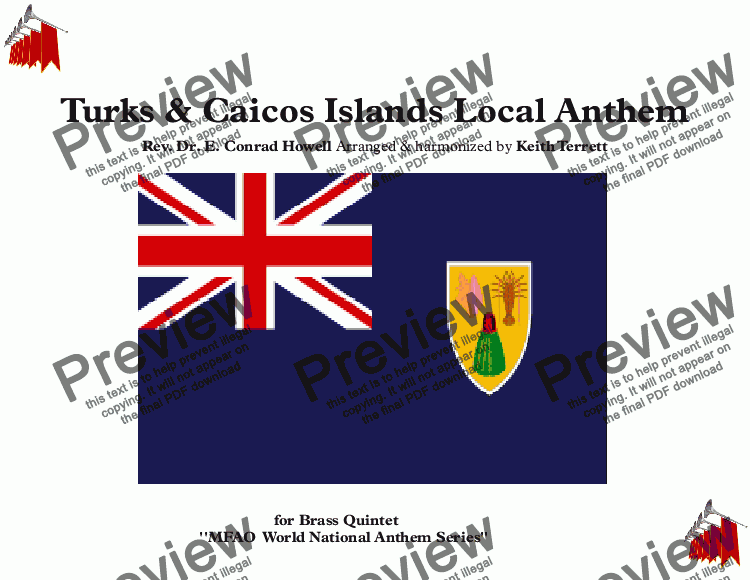 page one of Turks & Caicos Islands Local Anthem for Brass Quintet (MFAO World National Anthem Series)ASALTTEXT