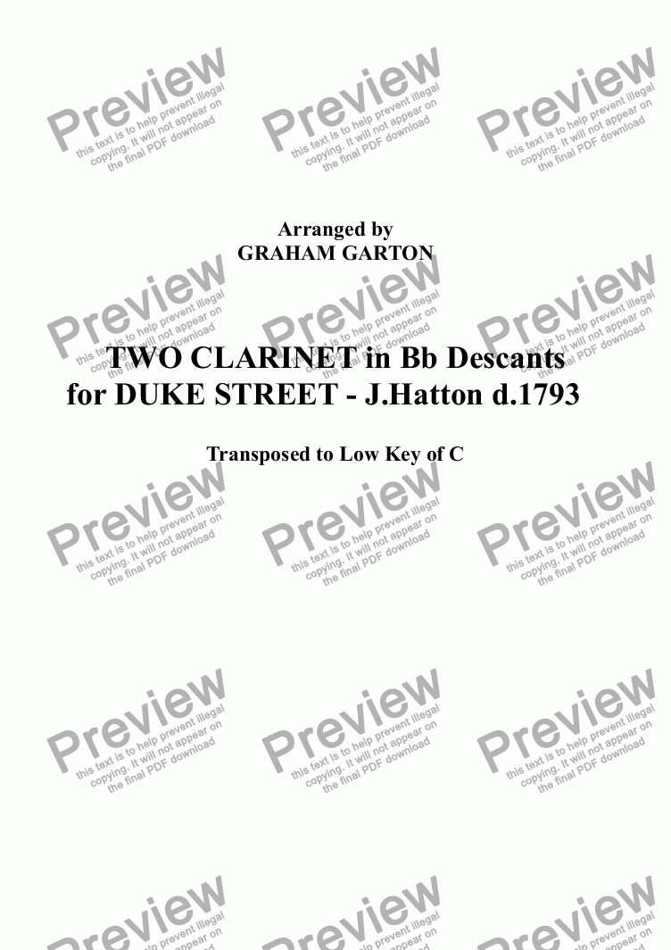 page one of DESCANTS - TWO CLARINET IN Bb Descants for DUKE STREET with Piano/Voices (Transposed to Low Key of C)ASALTTEXT