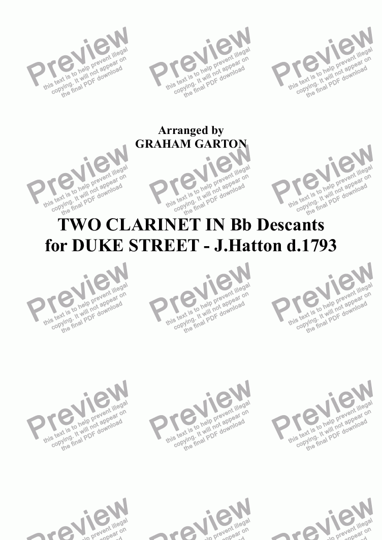 page one of DESCANTS - TWO CLARINET Parts IN Bb for DUKE STREET - J.Hatton d.1793 Original Key D - Arranged by GRAHAM GARTON