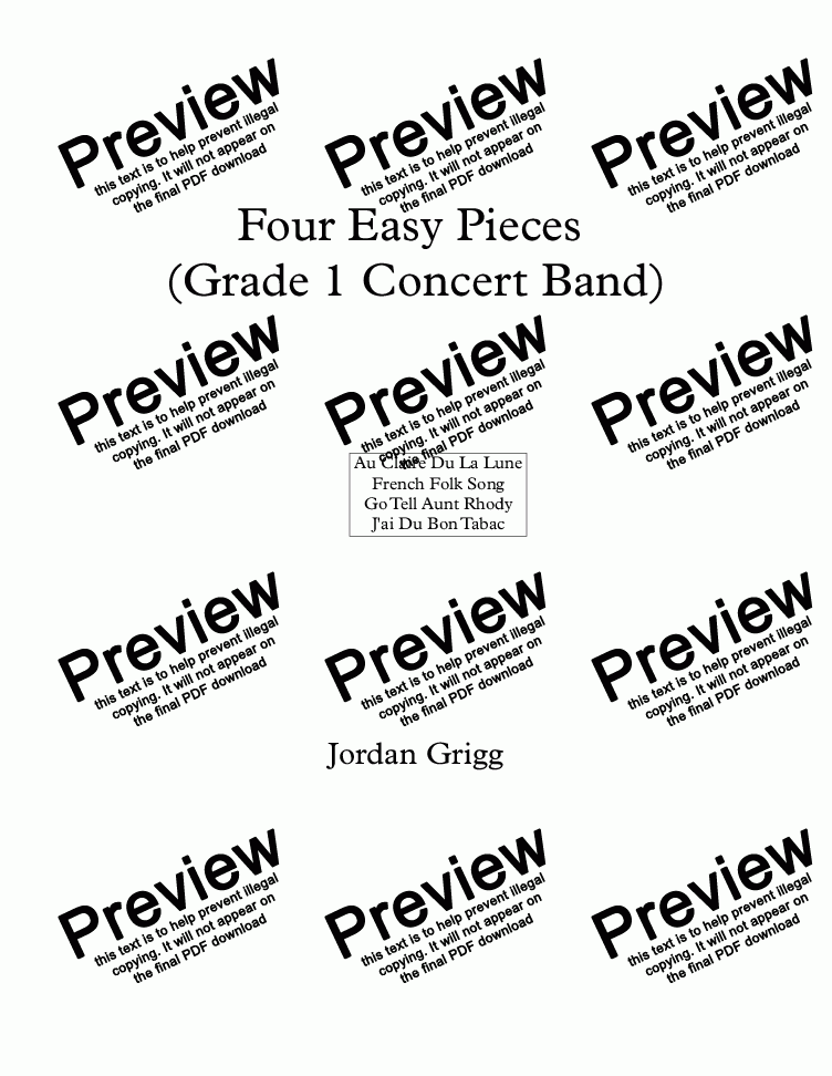 page one of Four Easy Pieces (Grade 1 Concert Band)