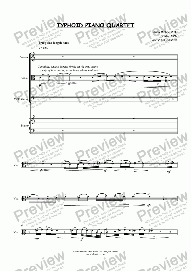 page one of TYPHOID PIANO QUARTET
