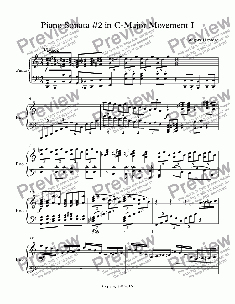 page one of Piano Sonata #2 in C-Major Movement I