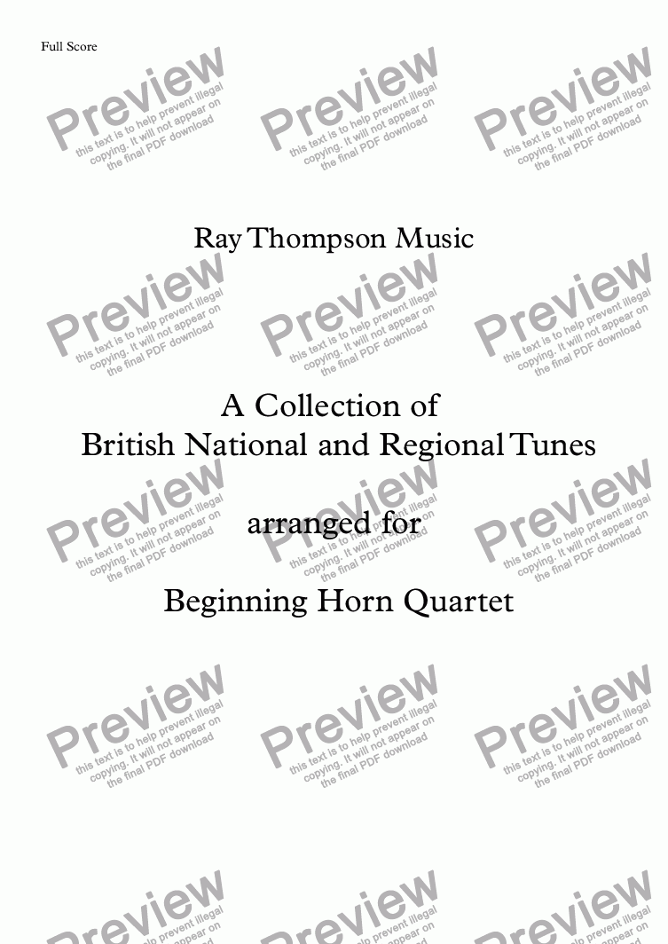 page one of A Collection of British National and Regional Tunes arranged for Beginning Horn Quartet: Auld Lang Syne, God Save the Queen, On Ikley Moor Baht 'At, Land of My Fathers, Widdecombe Fair.