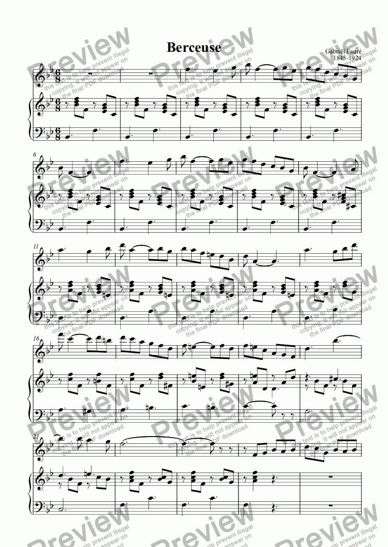 page one of Berceuse (Fauré Op.16)
