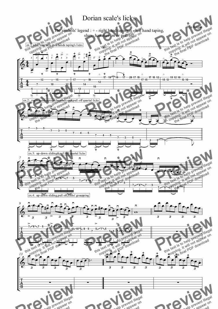page one of Dorian scale's licks