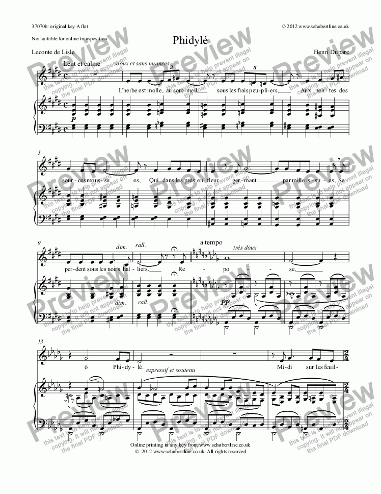 page one of Phidylé