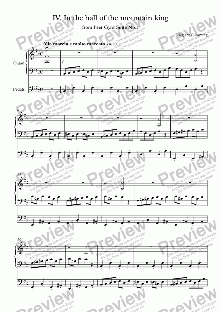 "page one of IV.  ""In the hall of the mountain king"" from Peer Gynt Suite No.1 for organ"