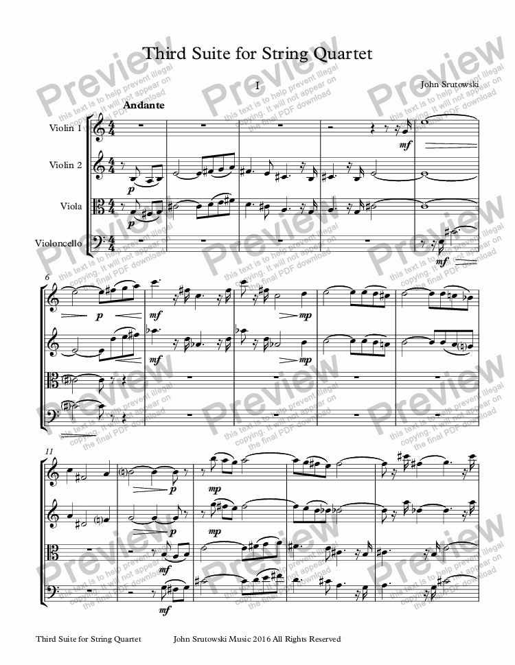 page one of Third Suite for String Quartet